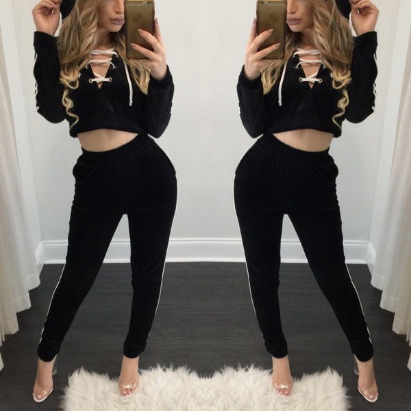 Stacy Black & White Velvet Jogger Set - Diva Boutique Online - 1