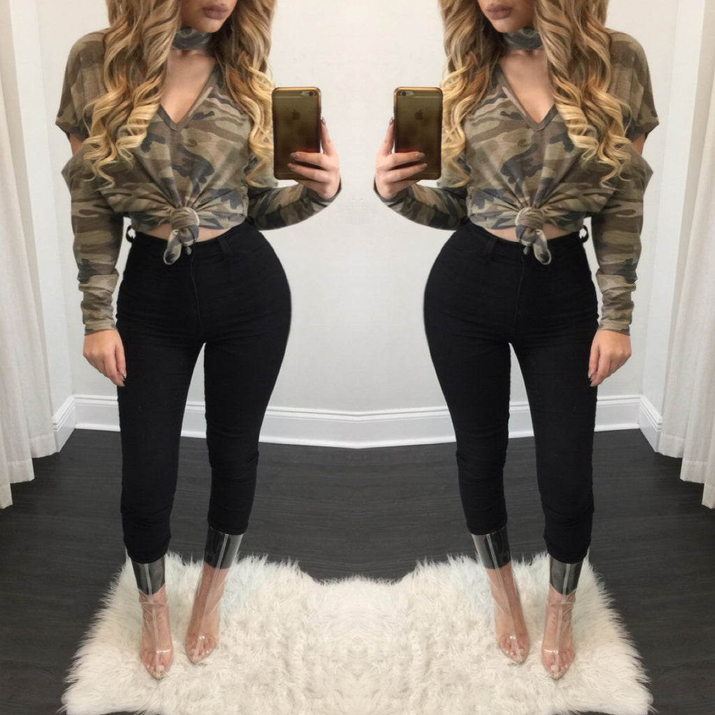 Zoe Camouflage Long Sleeve Tee - Diva Boutique Online - 1