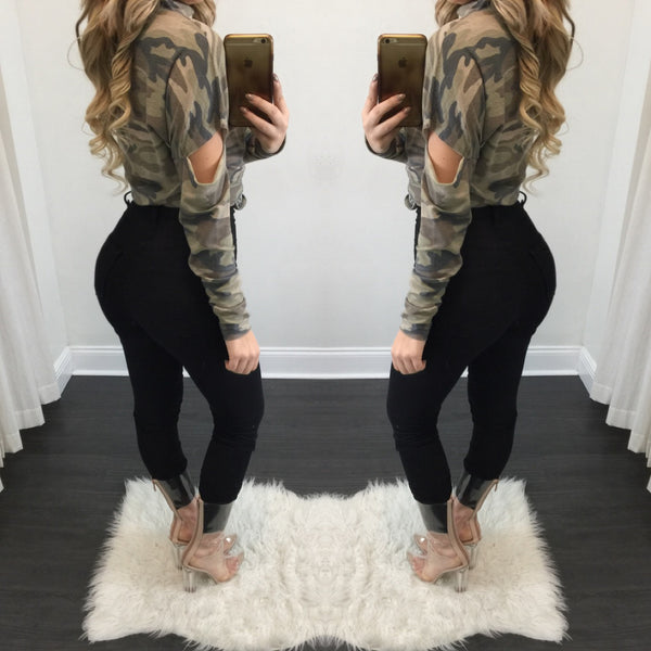 Zoe Camouflage Long Sleeve Tee - Diva Boutique Online - 2