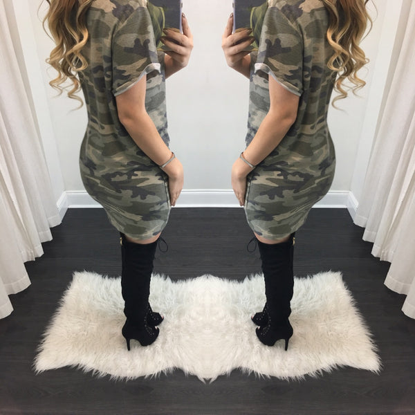 Army Lace Up Tee Dress - Diva Boutique Online - 2