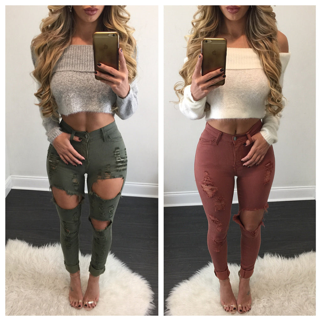Ashley Off the Shoulder Knit Sweater Crop - Diva Boutique Online - 1