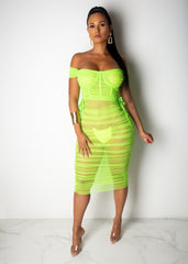One More Time Midi Mesh Dress