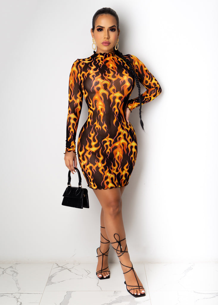 She's On Fire Mini Dress