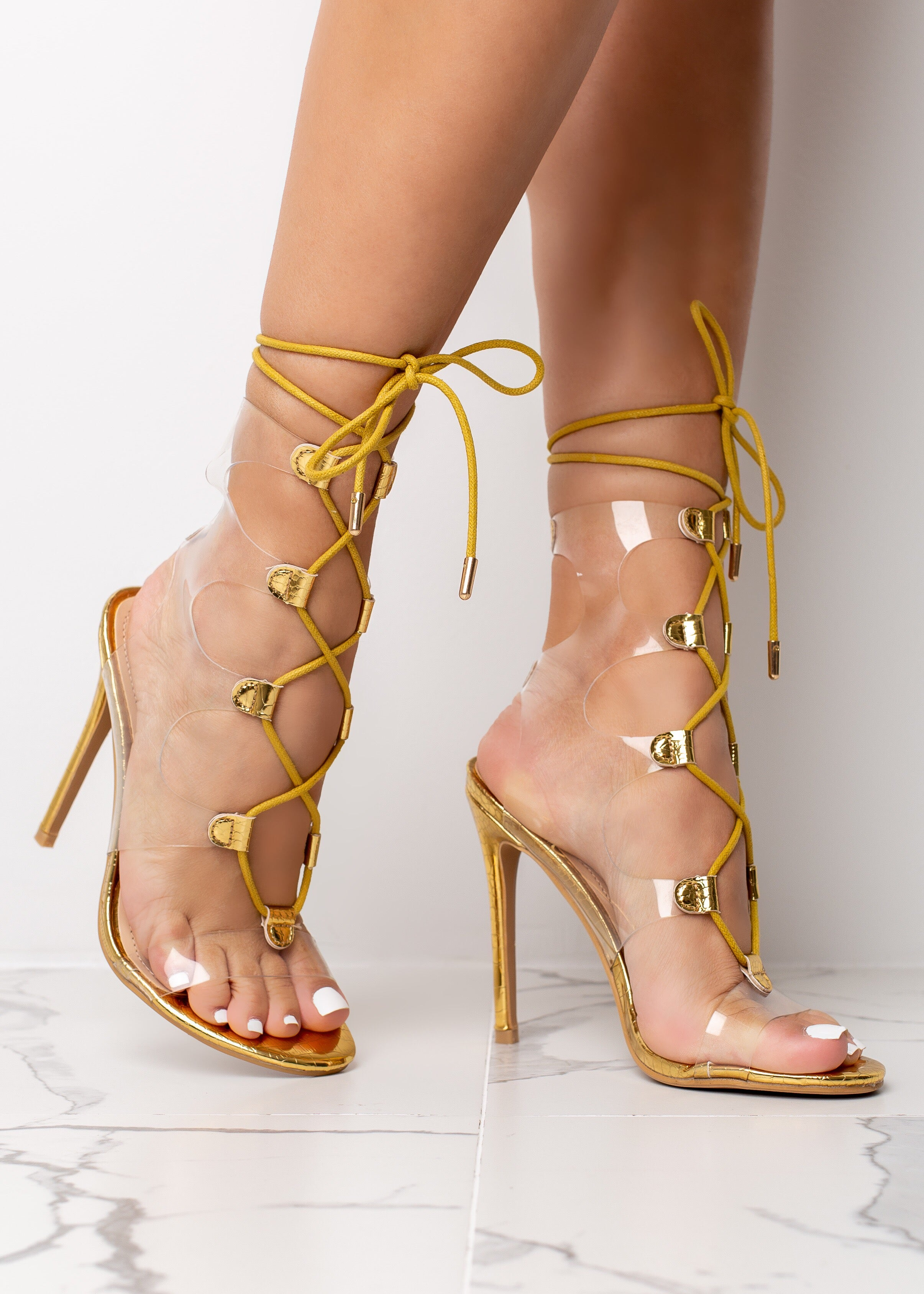 Clear Gold Alligator Print High Heels
