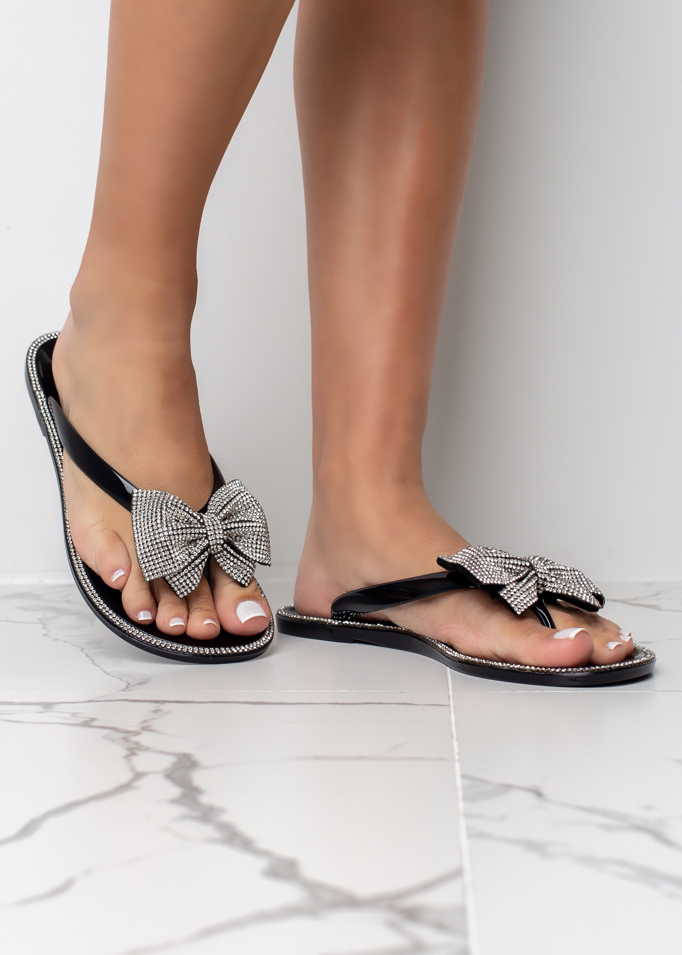 Rhinestone Bow Black Sandals