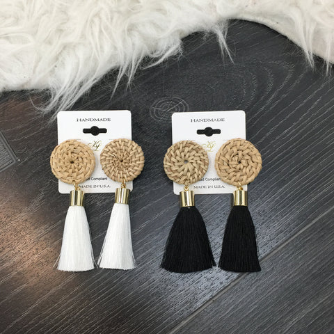 Wood Detail Fringe Earrings