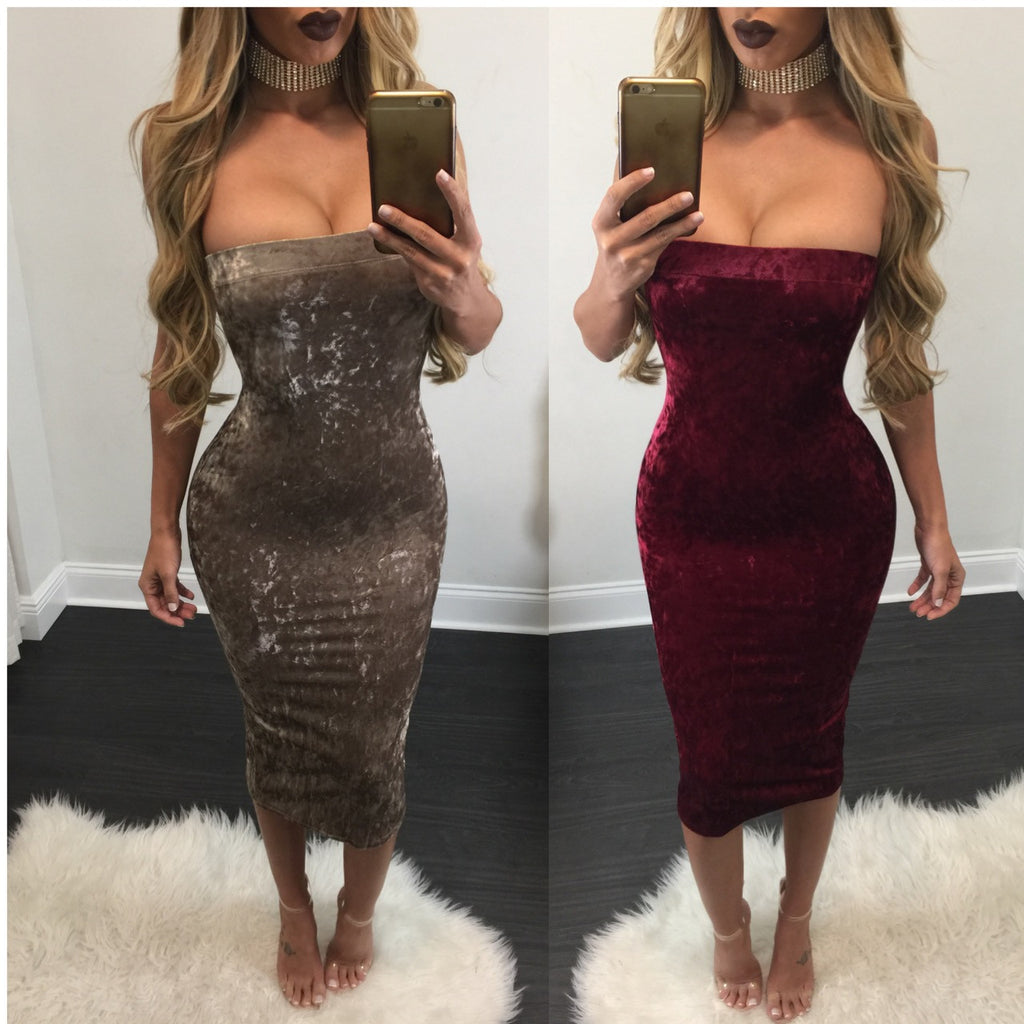 Jacqui Crushed Velvet Tube Midi - Diva Boutique Online