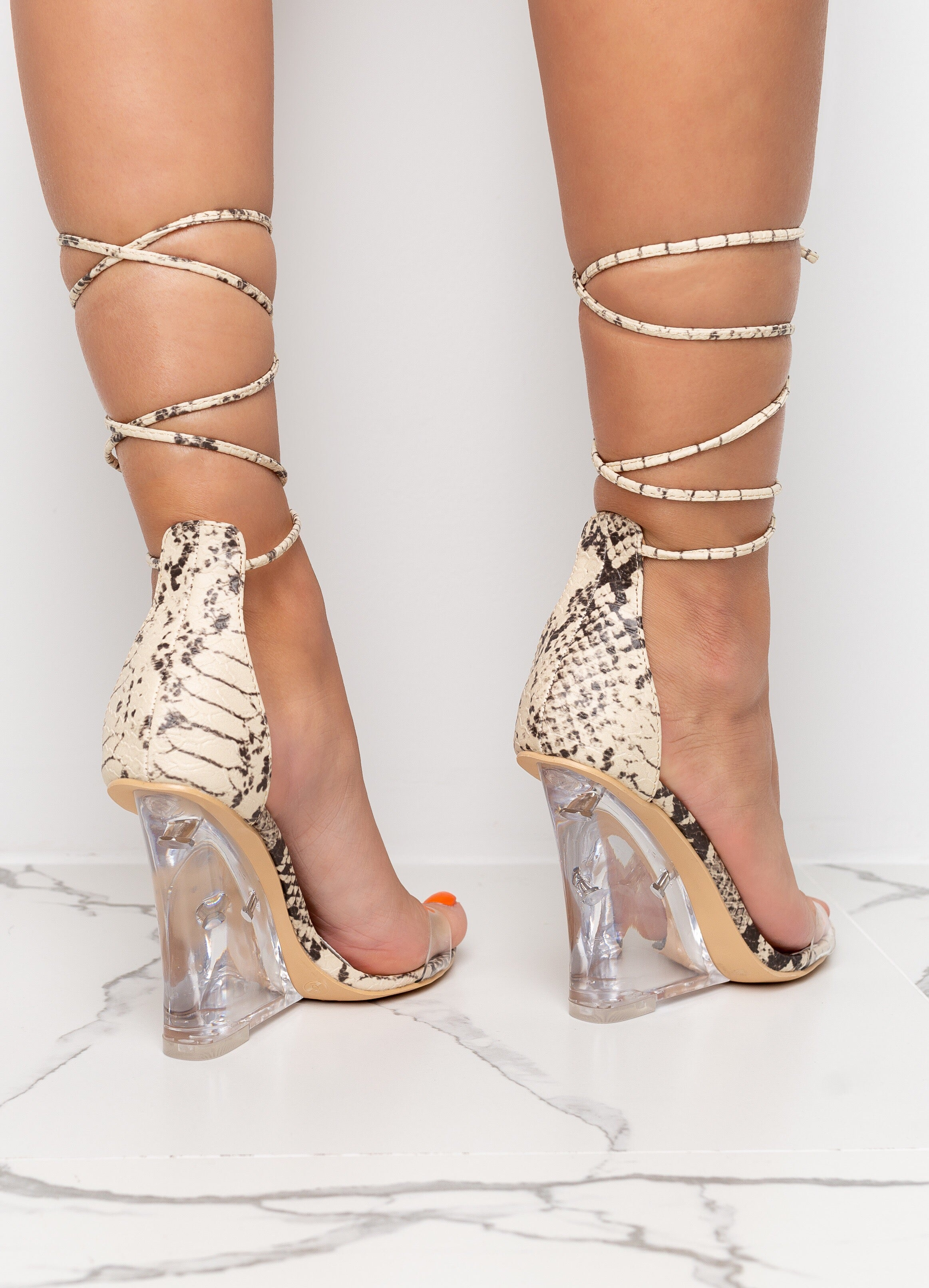 Nude Snake Print Clear Wedges