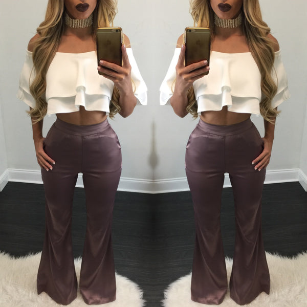 Cassie Satin Wide Leg Pants