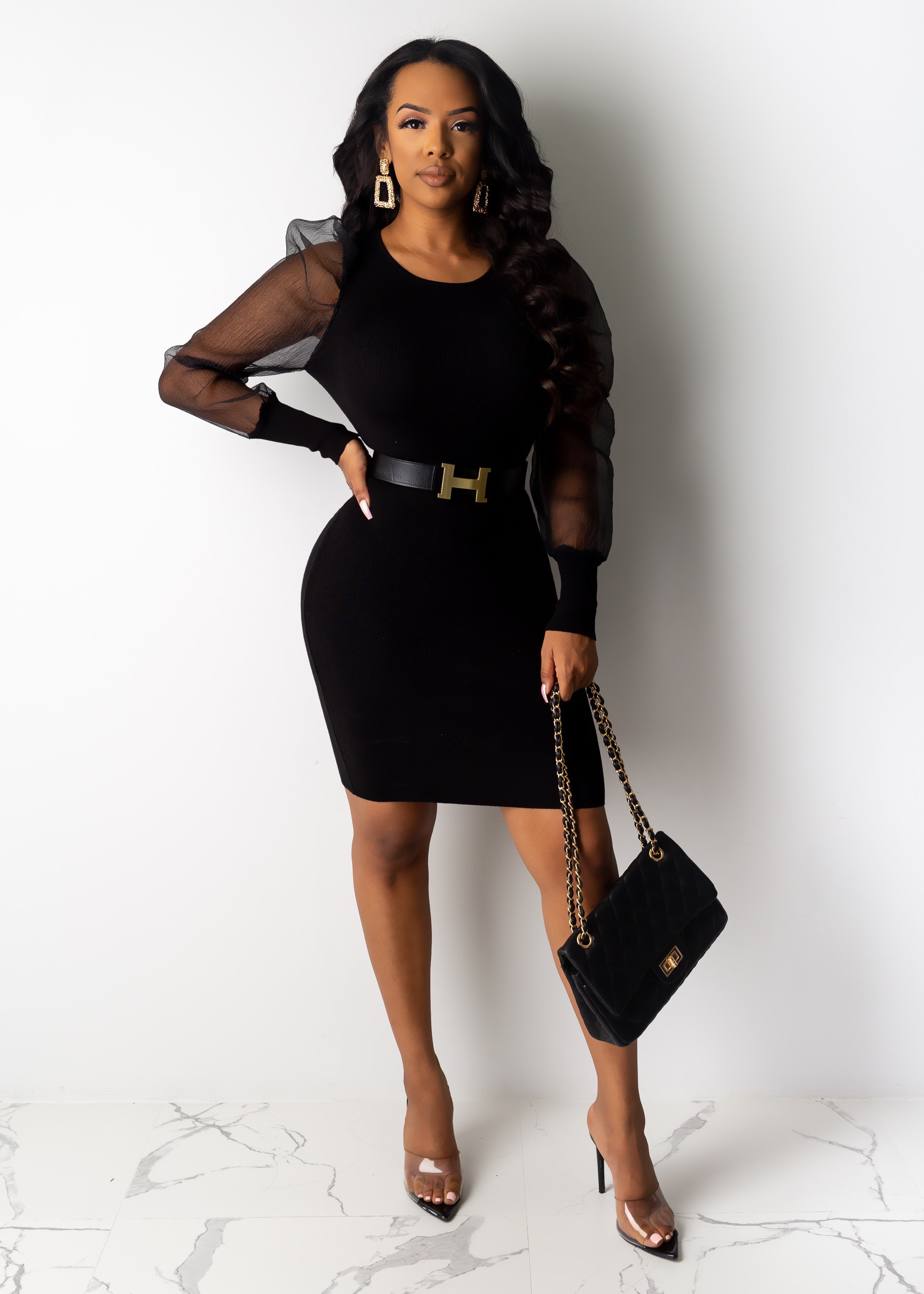 Paparazzi Mesh Sleeve Mini Dress