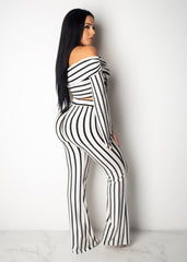 Hailey Striped Off the Shoulder Pant Set