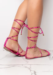 Wrapped Up On You Pink Sandals