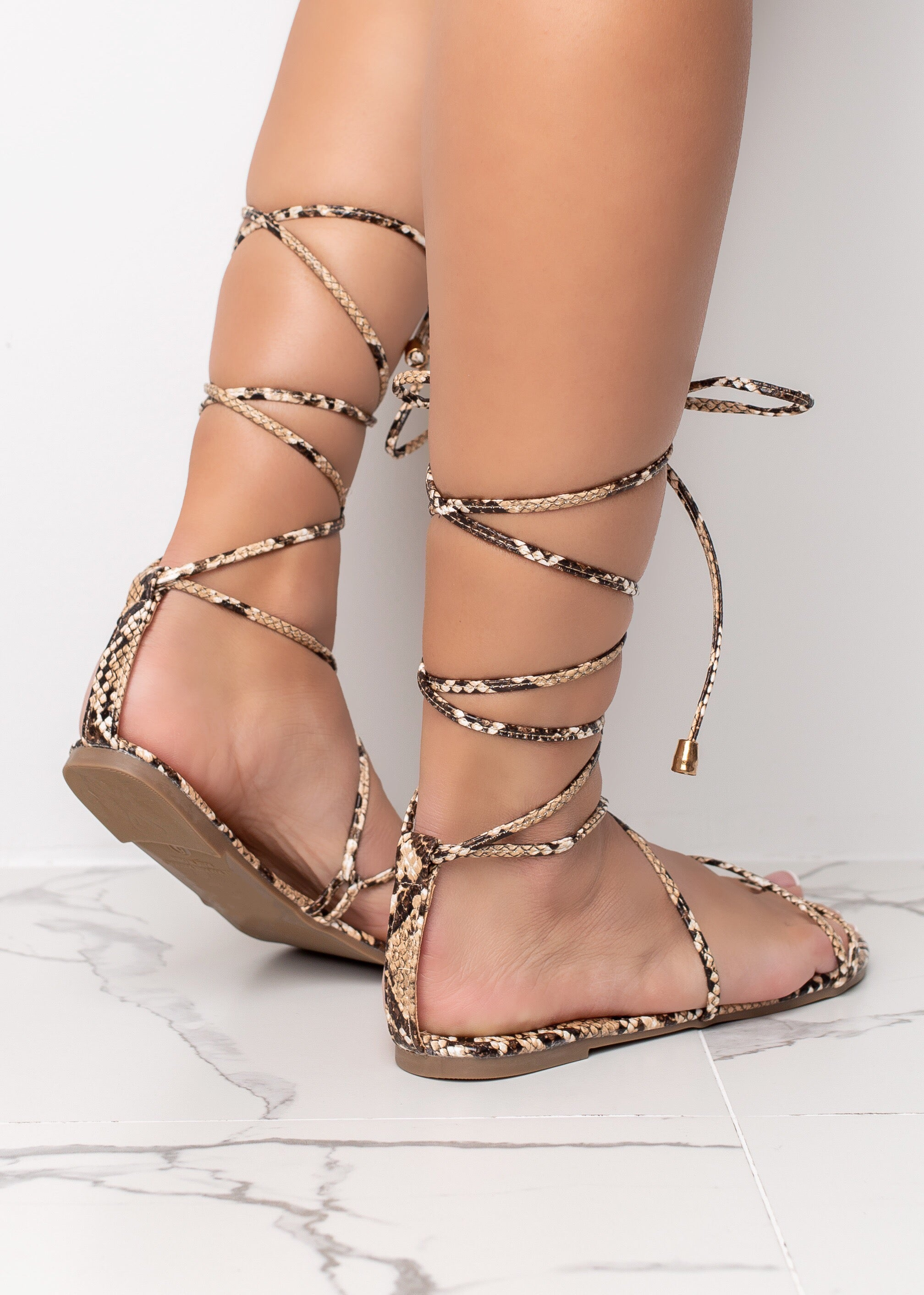 Wrapped Up On You Tan Sandals