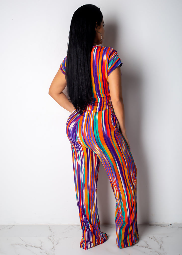 Complimented Stripes Pant Set