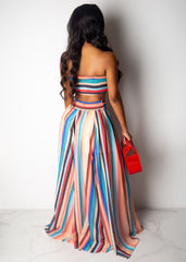 Living In Love Striped Skirt Set