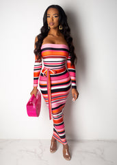 Your My Type Striped Midi Dress