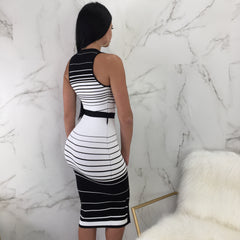 Joe Striped Ribbed Belted Midi