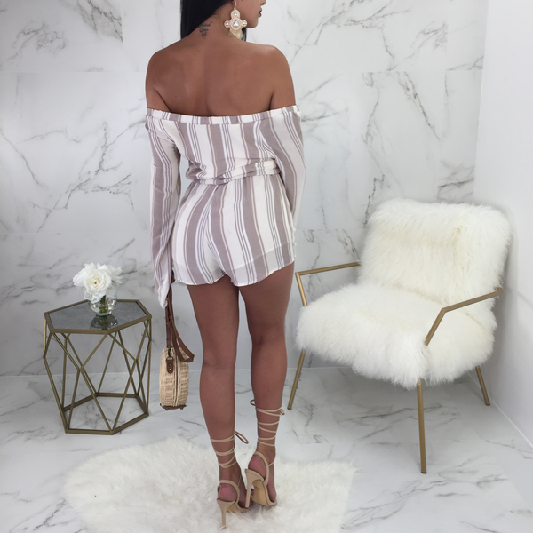 Tiffany Striped Lace Up Romper