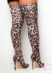 Over The Top White Leopard Boots