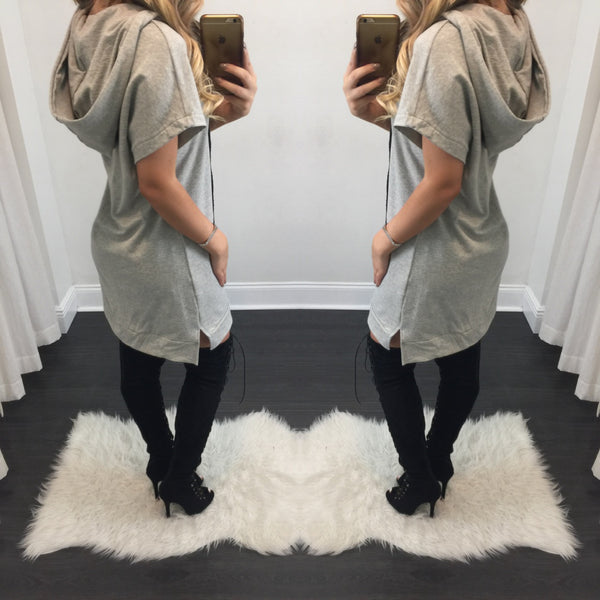 Rocio Lace Up Hoodie Tee Dress - Diva Boutique Online - 2