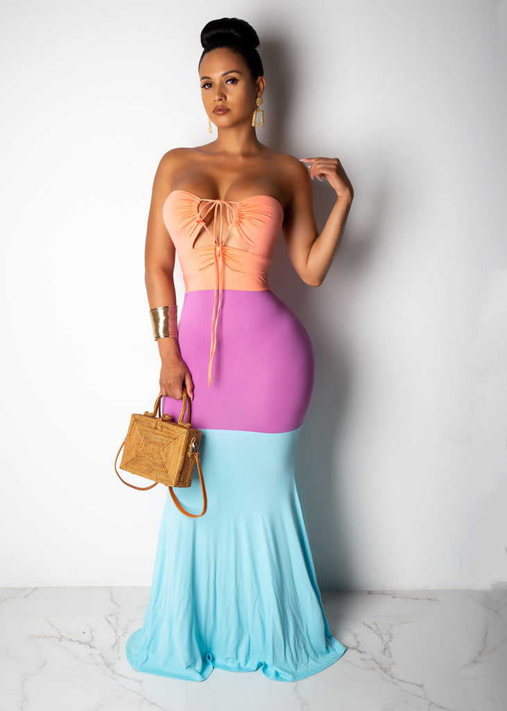Three Colored Halter Maxi Dress