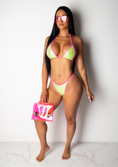 Neon Rhinestone Two Piece Bikini