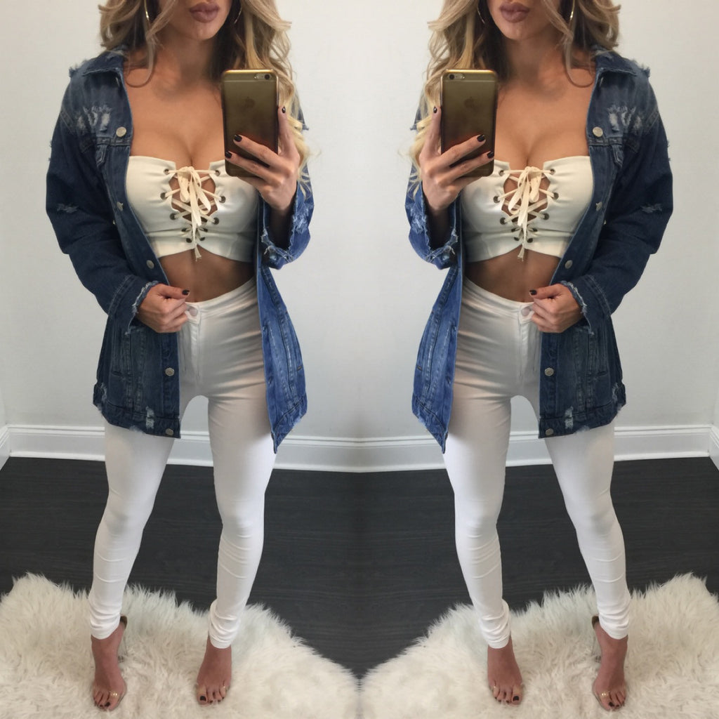 Farrah Distressed Denim Jacket - Diva Boutique Online - 1