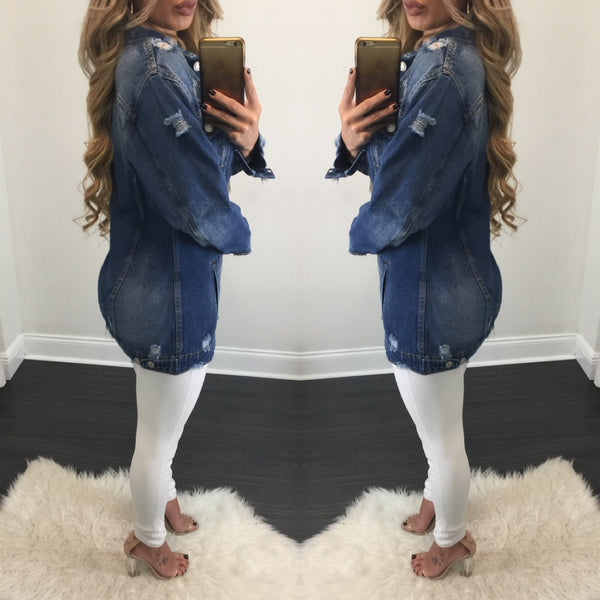Farrah Distressed Denim Jacket - Diva Boutique Online - 2