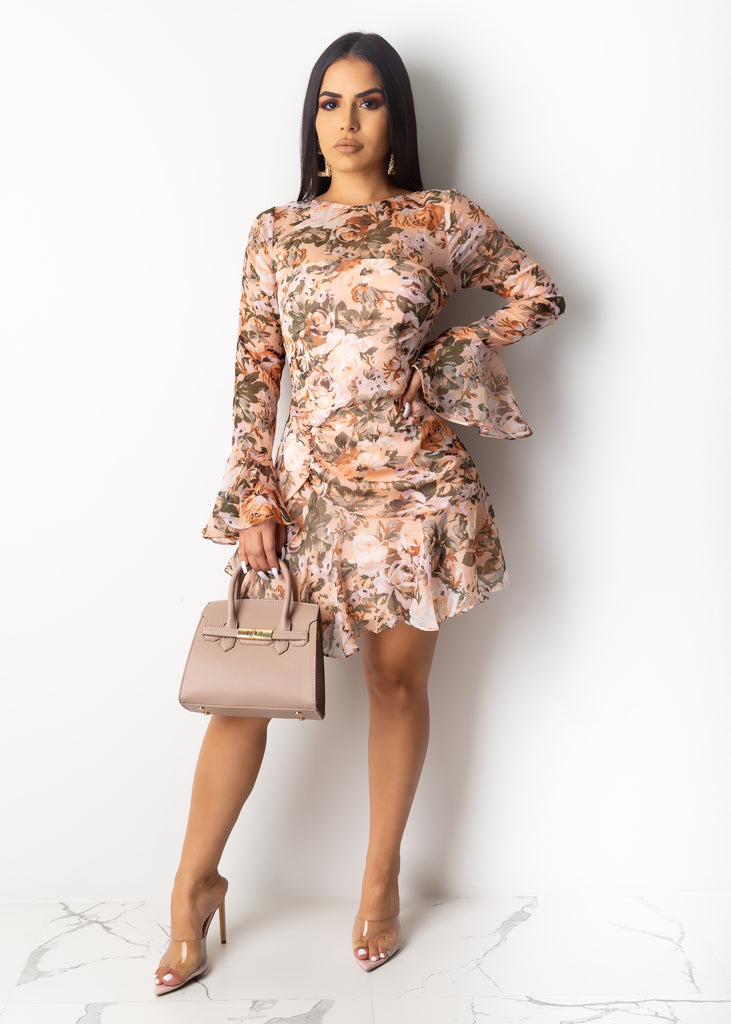 Ella Rose Print Mini Dress