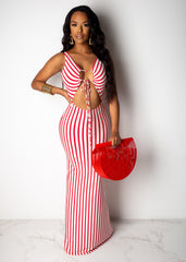 Open To It Striped Maxi Dress