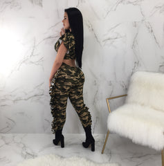 Chief in Command Ruffle Camo Pant Set