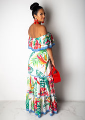 My Traditional Leaf Print White Maxi Dress