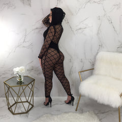 Roxanne Cut Out Mesh Jumpsuit