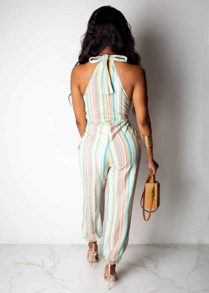 Keep It Casual Striped Jumpsuit