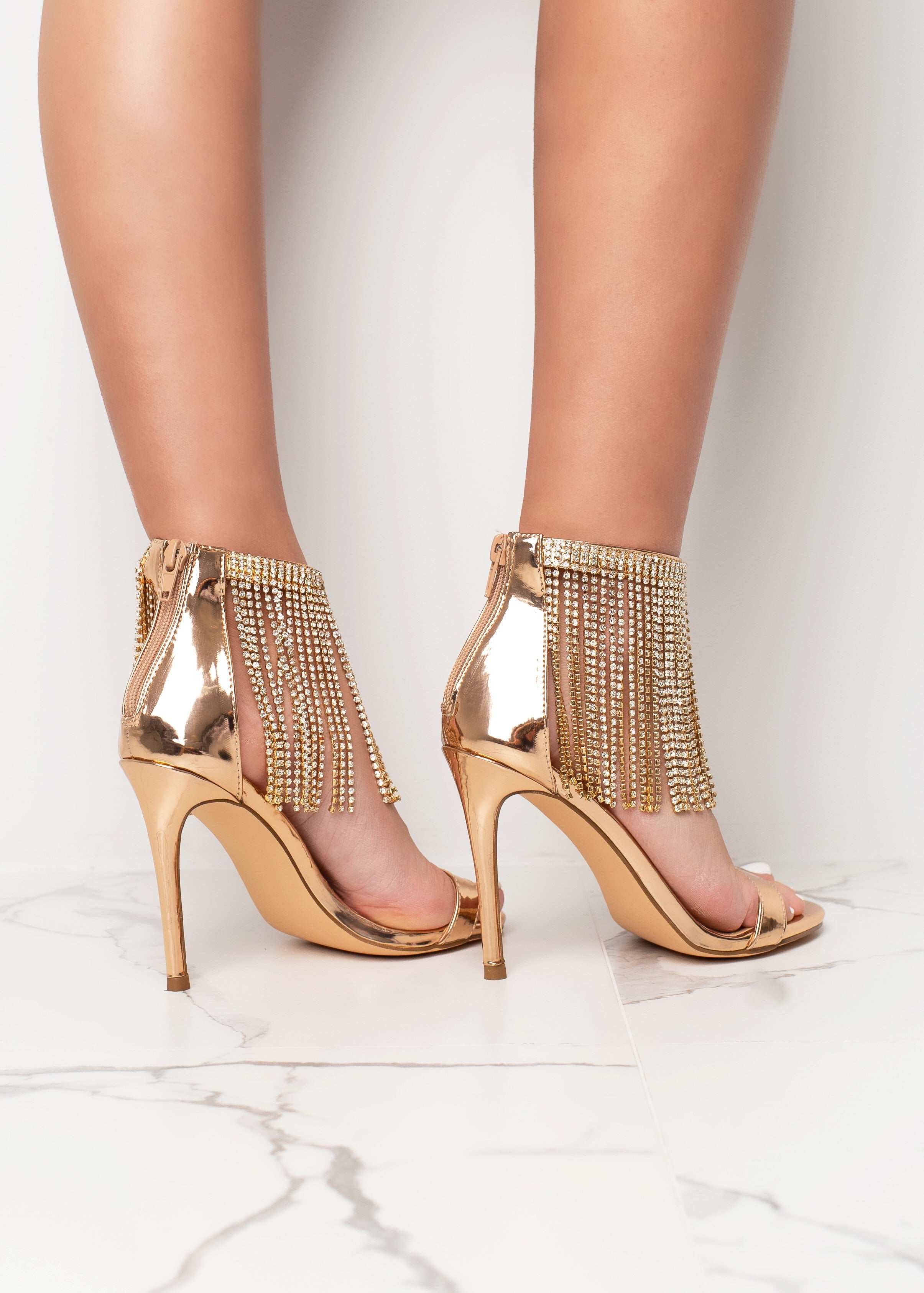 Walk With The Drip Rose Gold Heels