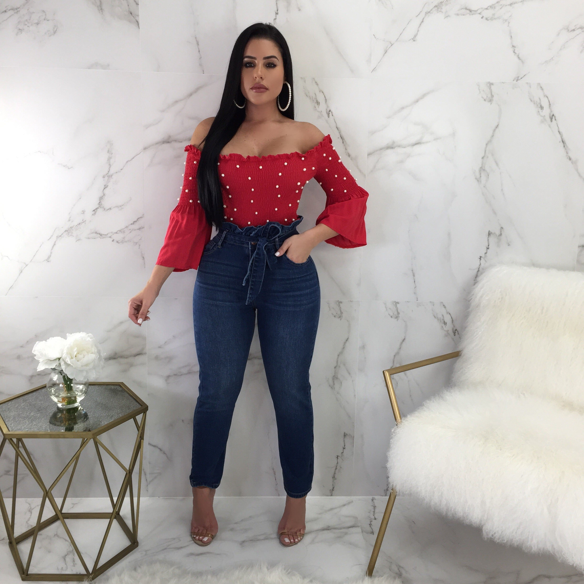 Coralline High Waisted Ruffle Jeans