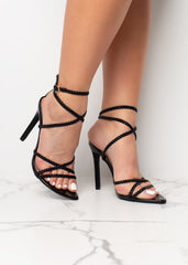 Erica Black Braided Heels