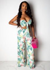 Adventurous Leaf Print Pant Set