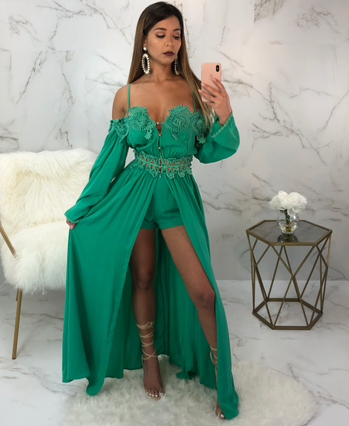 Thalia Green Crochet Detail Cape Romper