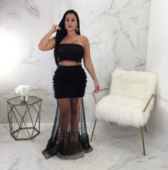 Nora Mesh Bottom Puffy Skirt Set