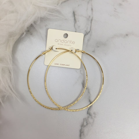 Gold Matted Hoop Earrings