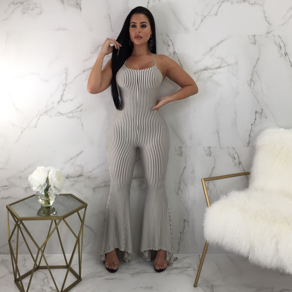 Monica White Striped Jumpsuit