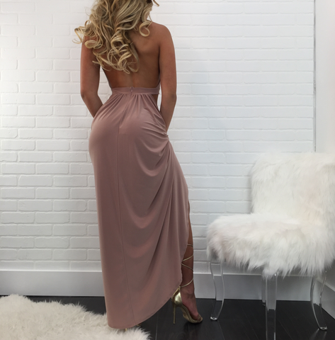 Ashley Draped Halter Maxi