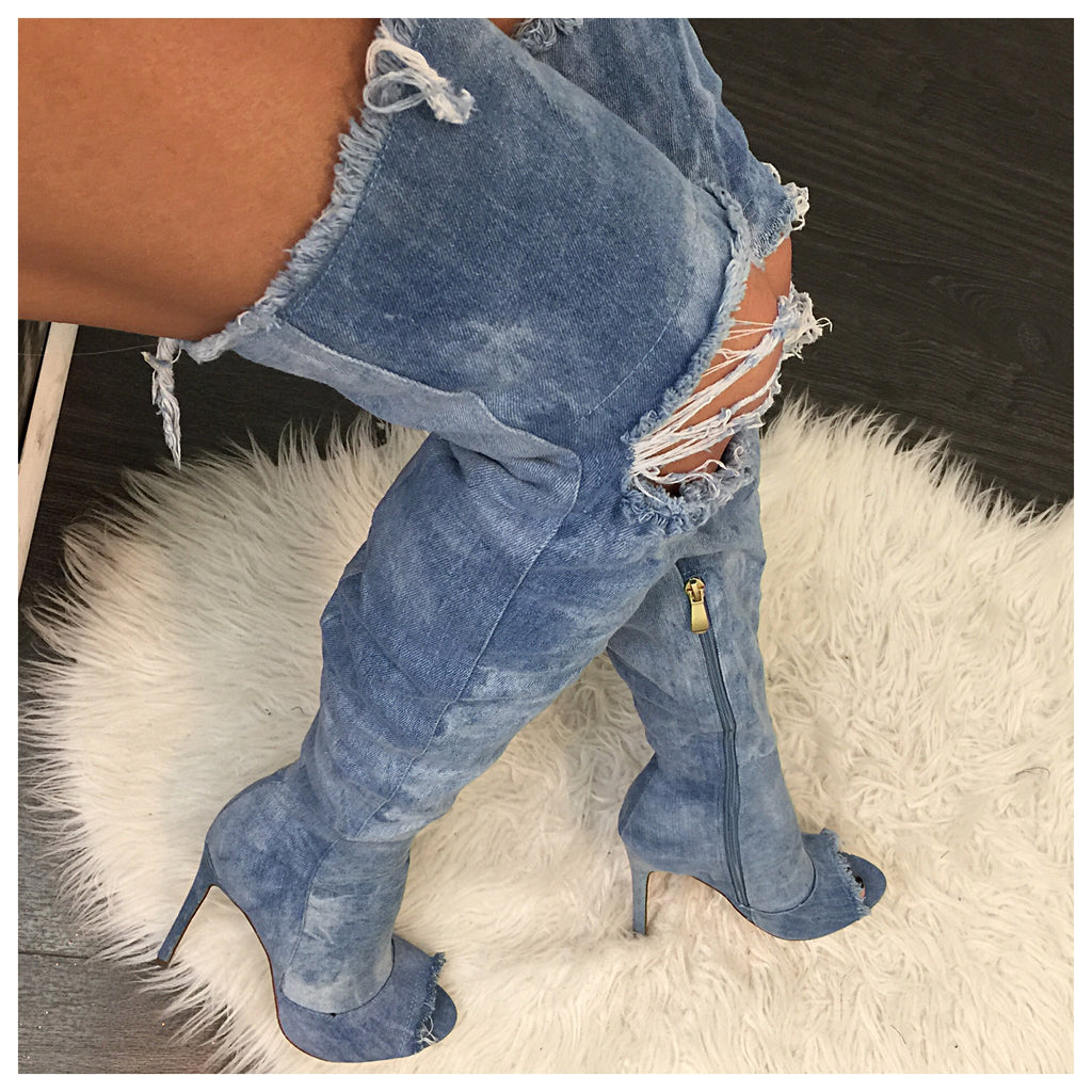 In Demand Distressed Thigh High Boots - Diva Boutique Online