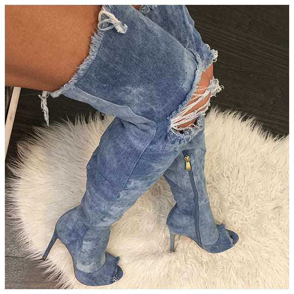 In Demand Blue Distressed Thigh High Boots - Diva Boutique Online