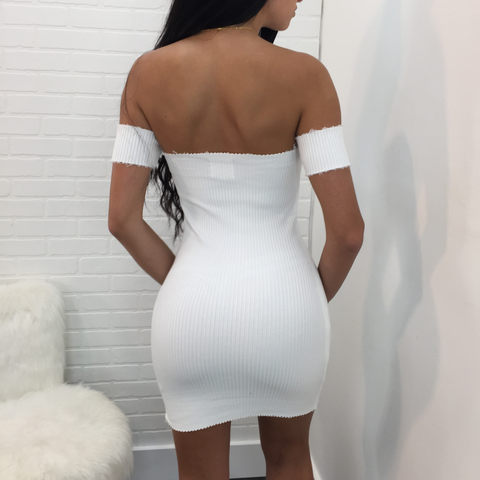 Cassandra Ribbed Off the Shoulder Mini
