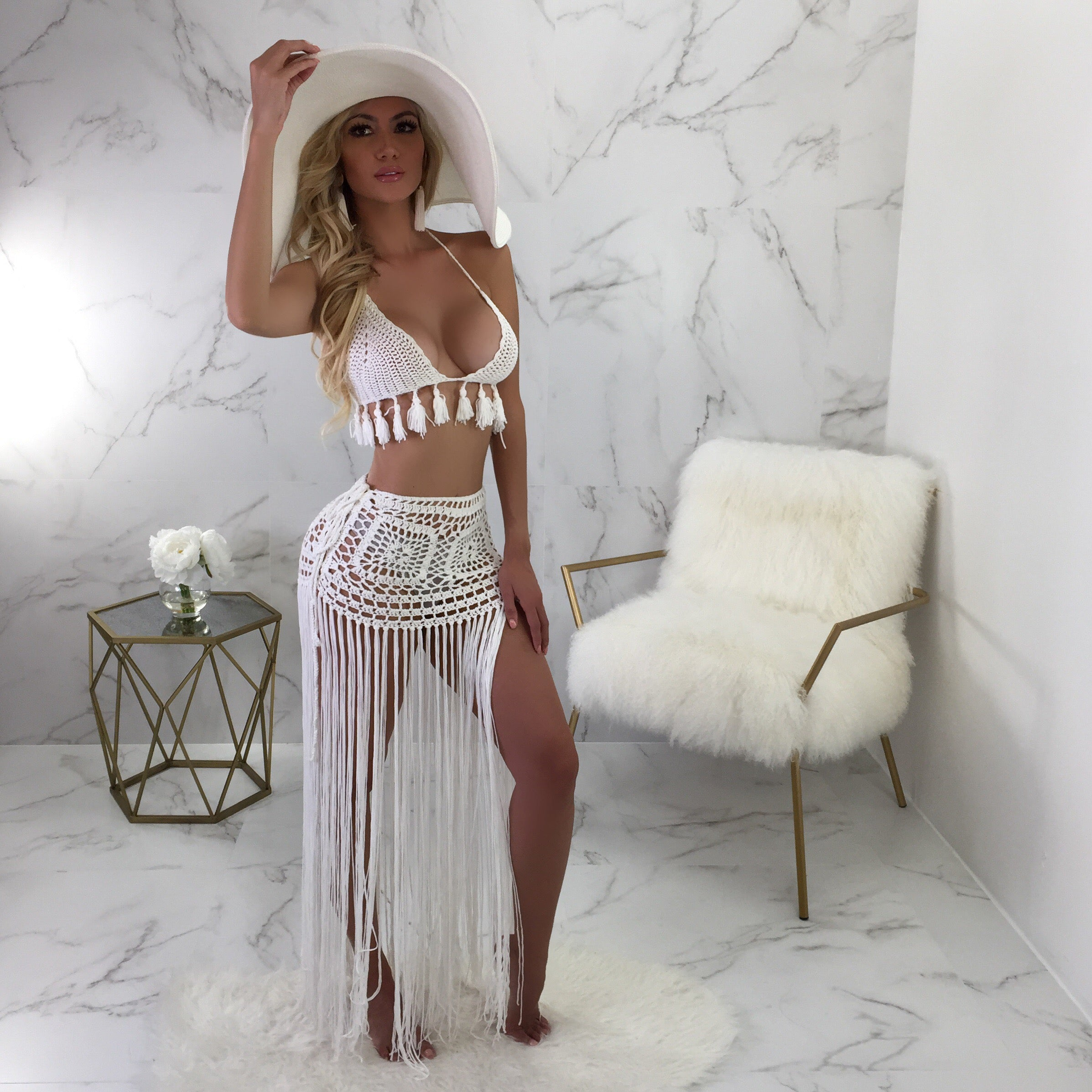 Candice Crotchet Fringe Cover Up Skirt