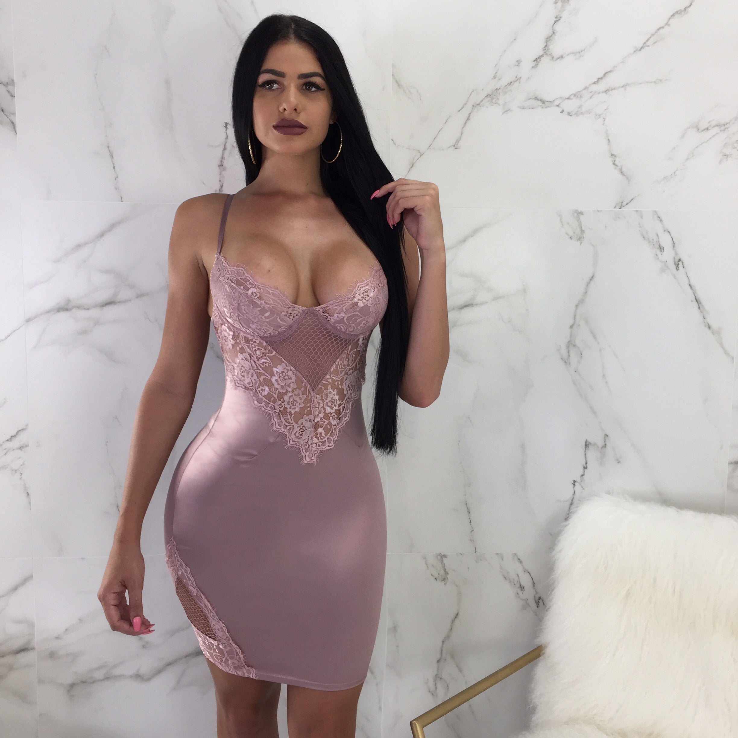 Dime Piece Mauve Lace Mini