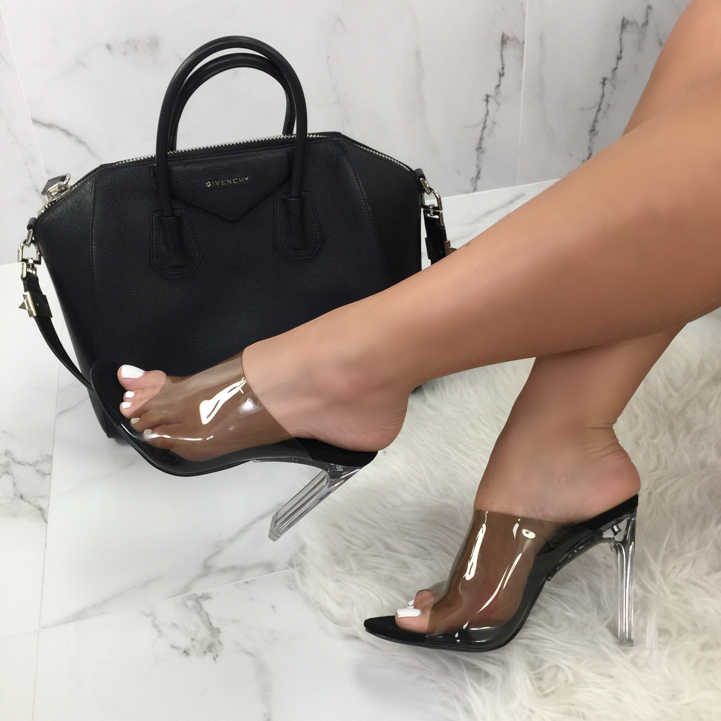 Cosmopolitan Black Clear Block Heels