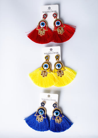 Hamsa Fringe Earrings